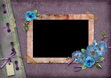 Vintage background with frames for photos. And blue flowers Stock Photos