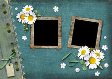 Vintage background with frames for photos vector illustration