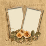 Vintage background with frames and roses Stock Photos