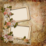 Vintage background with frames and roses Royalty Free Stock Photography