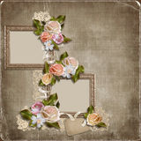 Vintage background with frames and roses Royalty Free Stock Photos