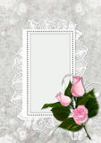 Greeting card with frame and roses Royalty Free Stock Images
