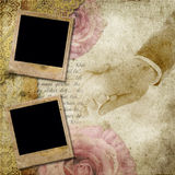 Vintage background with frames, roses, lace. Text I Love you, hands over retro paper Stock Photography
