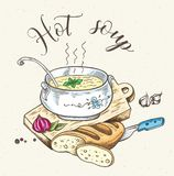 Fresh hot soup and bread. Vintage background with fresh hot soup and bread. Hand drawn vector illustration Royalty Free Stock Photos