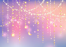 Vintage background with garland sparkles Stock Photo