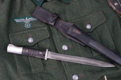 Vintage background with german army bayonet Stock Photo