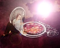 Vintage background with girl Stock Image