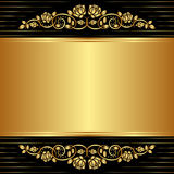 Vintage background. Gold black background with floral ornaments Stock Image