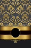 Vintage background with gold ornament and frame. Royalty Free Stock Photo