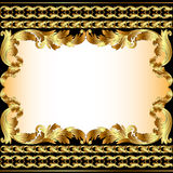 Vintage background with gold pattern and border. Illustration vintage background with gold pattern and border Stock Photography