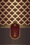 Vintage background with gold patterns and frame. Stock Image