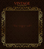 Vintage background with golden  frame. Royalty Free Stock Photo