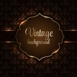 Vintage background with golden frame vector illustration Stock Photography