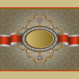 Vintage background with golden label Stock Images