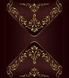 Ornaments elements floral retro corners frames borders stickers art deco design illustrationVintage background with golden lace or. Vintage background with vector illustration