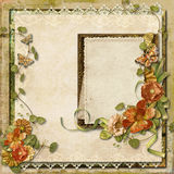 Vintage background with gorgeous flowers with frame for photos Stock Images