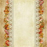Vintage background with gorgeous flowers and lace