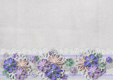 Vintage background with handmade flowers and lace Stock Photos