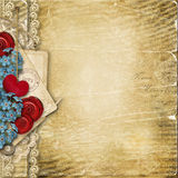 Vintage background with heart and flowers Royalty Free Stock Photos