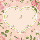Vintage background with heart and roses Stock Photo