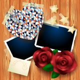 Vintage background with heart and roses Royalty Free Stock Image