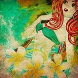 Grunge island girl Stock Images