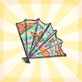 Vintage background with Japanese fan Royalty Free Stock Photo