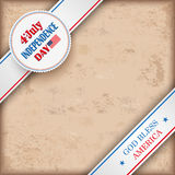 Vintage Background 4 July US Flag. Vintage independence day background design with brown colors and US-Flag Royalty Free Stock Image