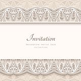 Vintage background with lace borders. Vintage background with lace border ornament, elegant greeting card or wedding invitation template Stock Photography