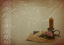 Vintage background with lace and candlestick stock illustration