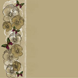 Vintage background with lace and pansies. Vector illustration. Royalty Free Stock Photography