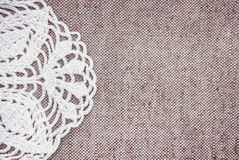 Vintage background with lacy on linen burlap texture Royalty Free Stock Images