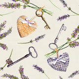 Vintage background - lavender flowers, aged keys, textile hearts. Seamless pattern, rural style. Watercolor Royalty Free Stock Photo