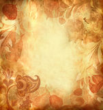Vintage Background with leaves and patterns Stock Image
