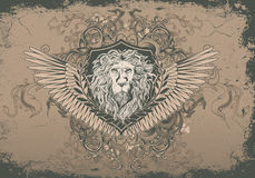 Vintage background with lion head Stock Photography