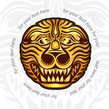 Vintage background with lions head. Background with golden head of lion tiger or dragon vector illustration