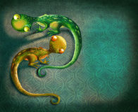 Vintage background with a lizards Stock Image