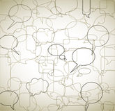 Vintage background made from speech bubbles. Outlines and borders royalty free illustration