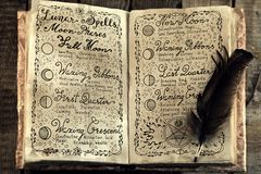 Open book with lunar magic spells and quill. Stock Image