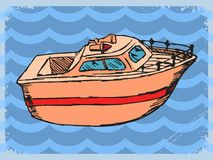 Vintage background with motorboat Stock Photo