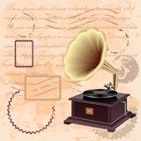 Vintage background with music gramophone Stock Photography