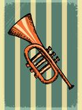 Vintage background with music instrument Stock Images