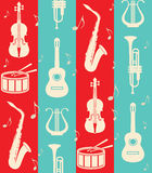 Vintage background with music instruments Stock Photo