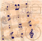 Vintage background with musical notes royalty free illustration