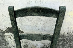 Vintage background, old backrest and damaged white wall. Texture Stock Photos