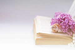 Vintage background with old book, lilac flower, and pearls. Romantic backdrop good for wedding invitation or greeting. Card design with copy space Stock Photos