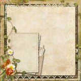 Vintage background with old card and beautiful flowers Stock Image