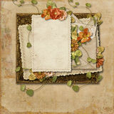 Vintage background with old card and beautiful flowers Royalty Free Stock Photo