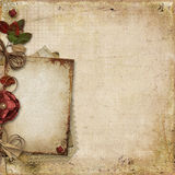 Vintage background with old card and decorations Stock Photos