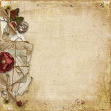 Vintage background with old card and decorations Royalty Free Stock Photography